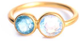 Marie Helene De Taillac Marie-Hélène De Taillac Aquamarine & rainbow moonstone ring