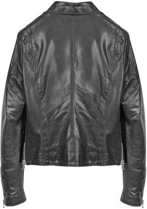 Forzieri Diagonal Zip Black Leather Motorcycle Jacket