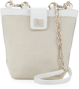 Gianfranco Ferre GF Woven Chain-Strap Shoulder Bag, White
