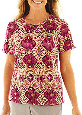 Alfred Dunner Circle Oaks Medallion Accordion Knit Top