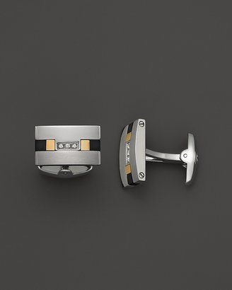 Dolan & Bullock Dolan Bullock Stainless Steel and 18K Gold Onyx and Diamond Cufflink Set, 0.06 ct. t.w.