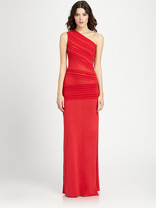 Roberto Cavalli Ridge-Paneled One-Shoulder Gown