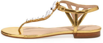 Kate Spade Shelby Pearly Flower Thong Sandal, Gold