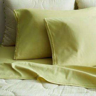 west elm Organic Cotton Frayed-Edge Sheet Set - Leek