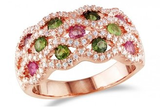 Ice 2 1/2 CT Pink and Green Tourmaline Silver and Pink Rhodium Ring
