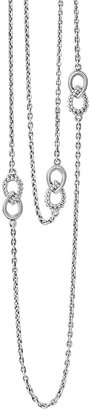 """Lagos Silver Soiree Fluted & Caviar Station Necklace, 32"""""""