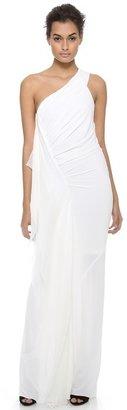Donna Karan One Shoulder Draped Evening Gown