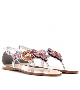 Miu Miu GLITTER-TRIMMED METALLIC LEATHER SANDALS
