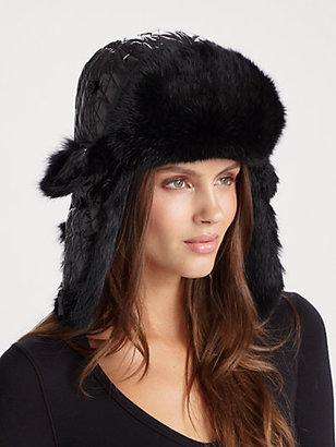 Saks Fifth Avenue Collection Rabbit Fur-Trimmed Aviator Hat