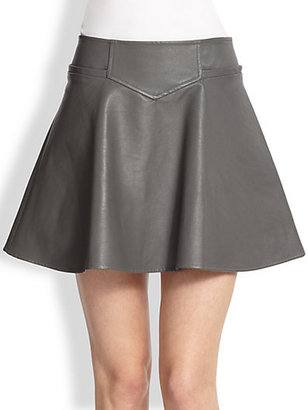 Thakoon Flared Leather Skirt