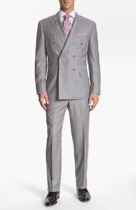 Joseph Abboud 'Platinum' Double Breasted Suit Grey Plaid 44R