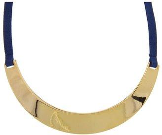 Lauren Ralph Lauren 16 Suede Necklace w/Metal Collar (Blue) - Jewelry