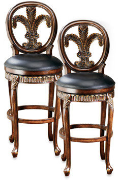 Hillsdale Fleur De Lis Bar Stool and Counter Stool in Cherry