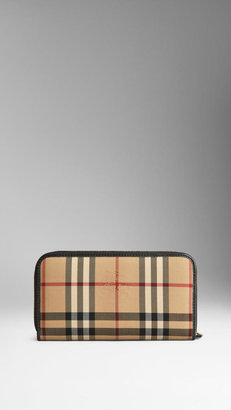 Burberry Horseferry Check and Leather Ziparound Wallet