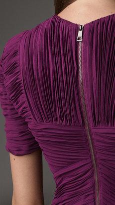 Burberry Pleated Chevron Dress