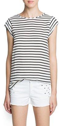 MANGO Striped chiffon panel t-shirt