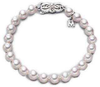 Mikimoto 6.5MM-7MM White Cultured Akoya Pearl & 18K White Gold Strand Bracelet