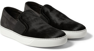 Lanvin Calf Hair and Suede Slip-On Sneakers
