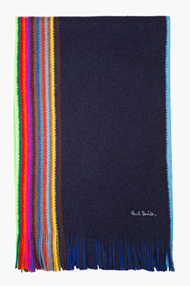 Paul Smith Navy & Neon striped wool scarf
