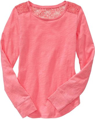 Old Navy Girls Lace Shoulder Tees
