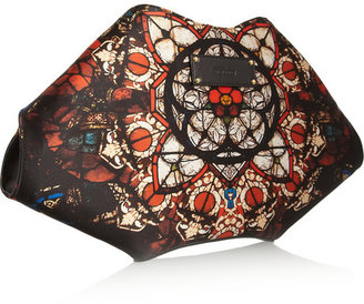 Alexander McQueen De Manta stained glass-print silk-satin clutch