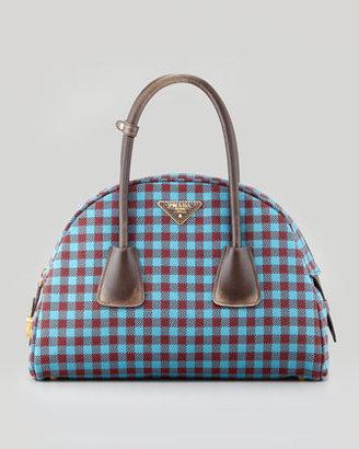 Prada Vichy Vintage Bowler Bag, Turquoise/Red