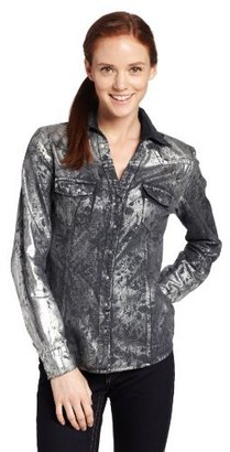 Silver Jeans Juniors Long Sleeve Denim Shirt With Foil Print