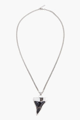 Givenchy Black & White Howlite & Silver Sharktooth Necklace
