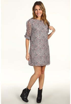 Winter Kate Silk Crinkle Chiffon Dress (Grey/Red Splatter) - Apparel