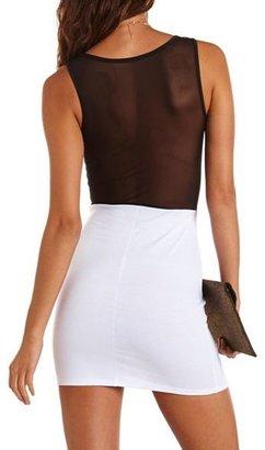 Charlotte Russe Mesh Inset Ponte Body-Con Dress