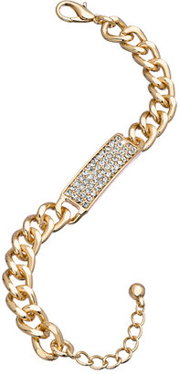 Blu Bijoux Gold Crystal Tag Bracelet