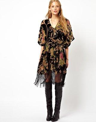 Asos Premium Kimono Dress With Floral Burnout - Multi