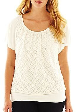 JCPenney Alyx® Short-Sleeve Lace-Front Top - Plus