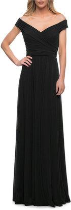 La Femme Off-the-Shoulder Long Jersey Gown