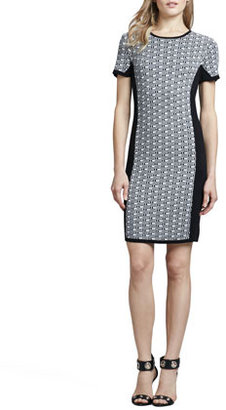 Dex Jacquard-Knit Panel Dress
