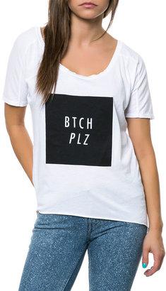 Classy Brand Bitch Please Raw Edge Tee in White