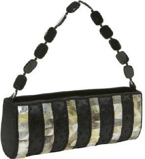 Global Elements Striped Shell & Silk Handbag