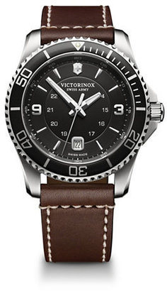 Victorinox Swiss Army Maverick Stainless Steel Black Dial and Brown Leather Strap Watch