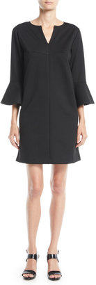 Joan Vass Plus Size Slit-Neck 3/4 Bell Sleeve A-Line Crepe Dress