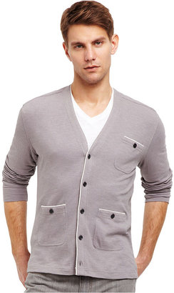 Kenneth Cole Reaction Sweater, Long-Sleeve Piped Cardigan
