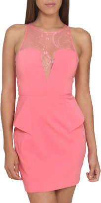 Arden B Lace Yoke Peplum Dress