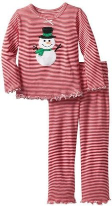 Sara's Prints Girls 2-6X Mini Stripe Ruffle Top And Pant