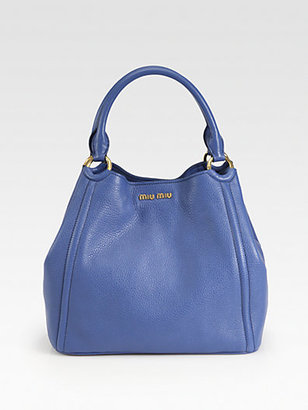 Miu Miu Vitello Caribou Double Handle Bucket Bag