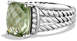 David Yurman Petite Wheaton Ring with Prasiolite and Diamonds