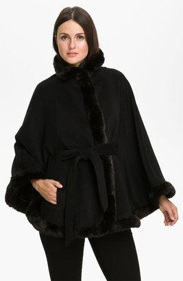 Ellen Tracy Faux Fur Trimmed Cape
