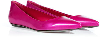 Sergio Rossi Pearly Pink Metal Patent Leather Pointy Toe Flats