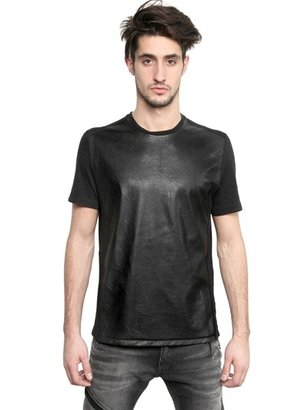 Neil Barrett Eco Leather & Cotton Jersey T-Shirt