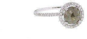 Meira T Rose Cut Grey Diamond Ring - White Gold