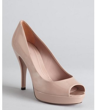 Gucci blush patent leather peep toe platform pumps