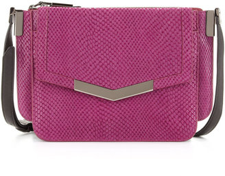 Trilogy Time's Arrow Mini Serpent-Print Crossbody Bag, Magenta